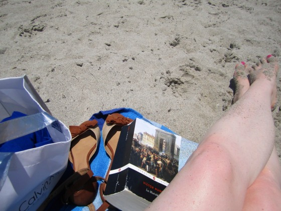 Big book, burned legs, and beach!