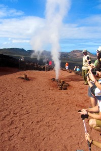 Geysers from pouring water