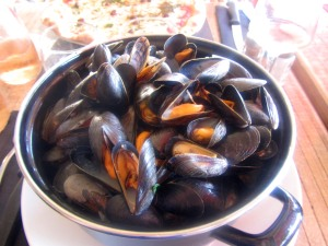 Giant pot of mussels