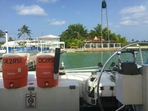 Leaving on the catamaran