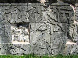 Carvings showing the decapitated player